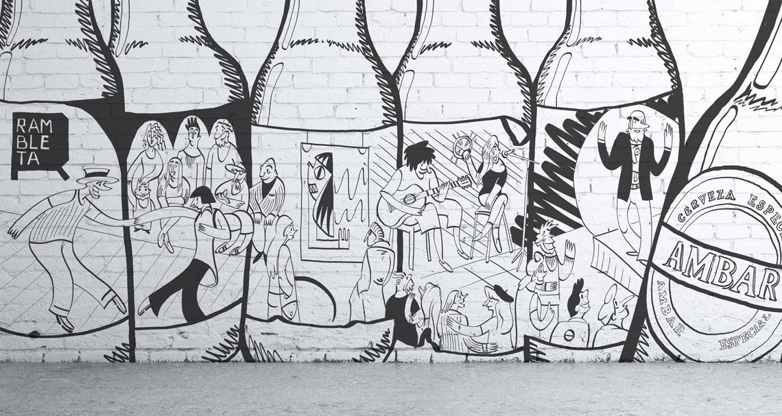 Mural ilustración oferta cultural