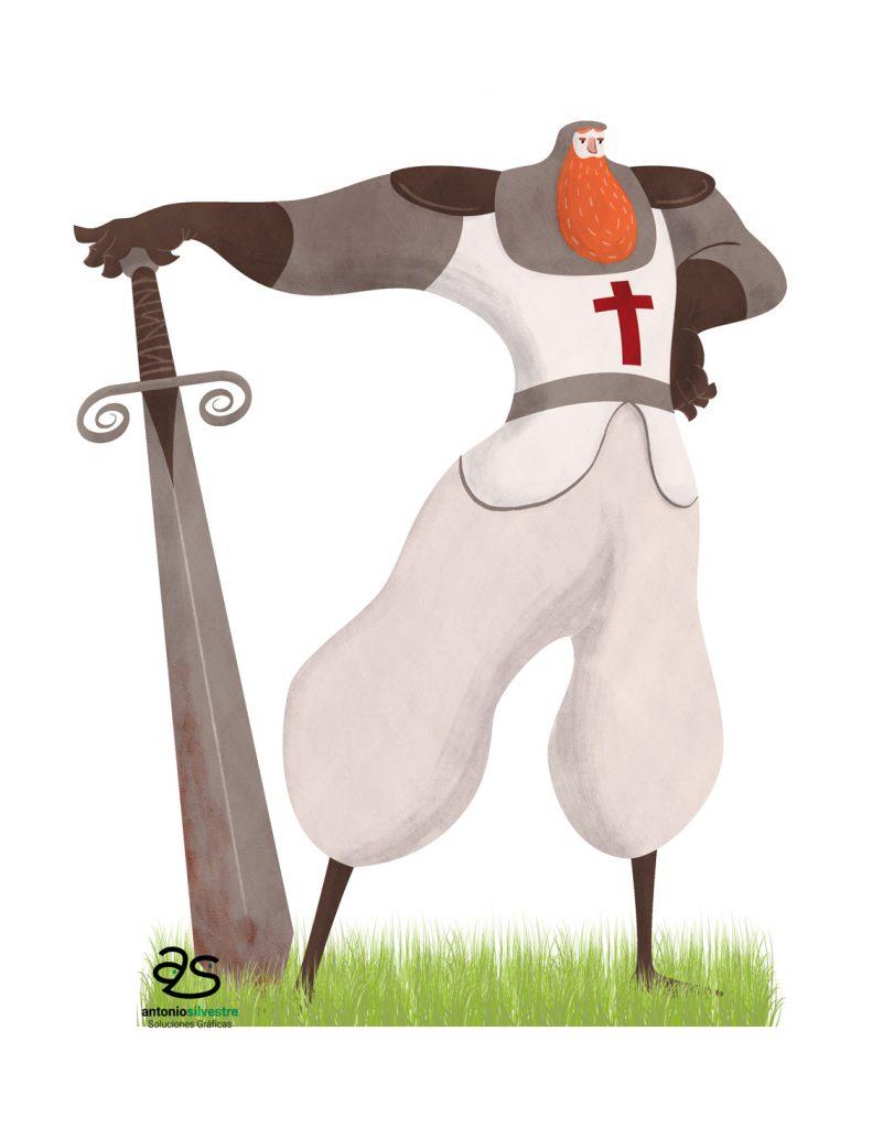 Diseño de personaje guerrero cruzado