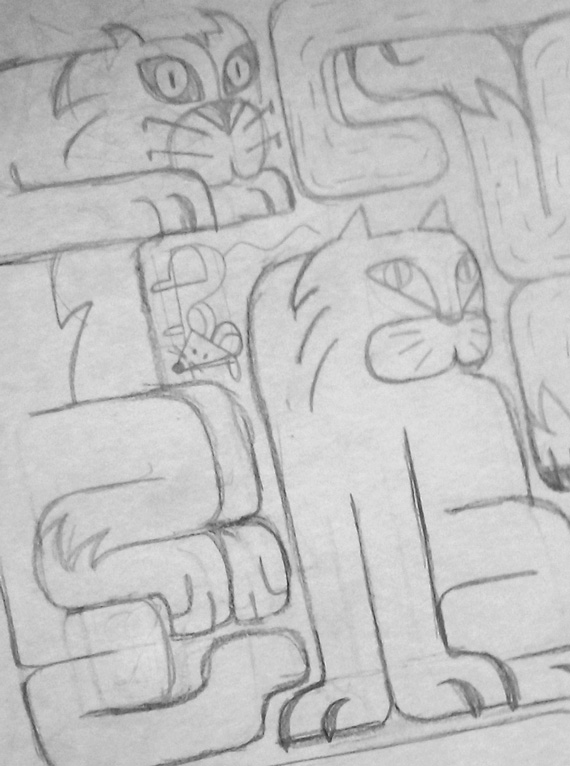 ilustración lápiz gatos