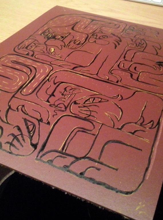 Linea grabado linóleo gatos