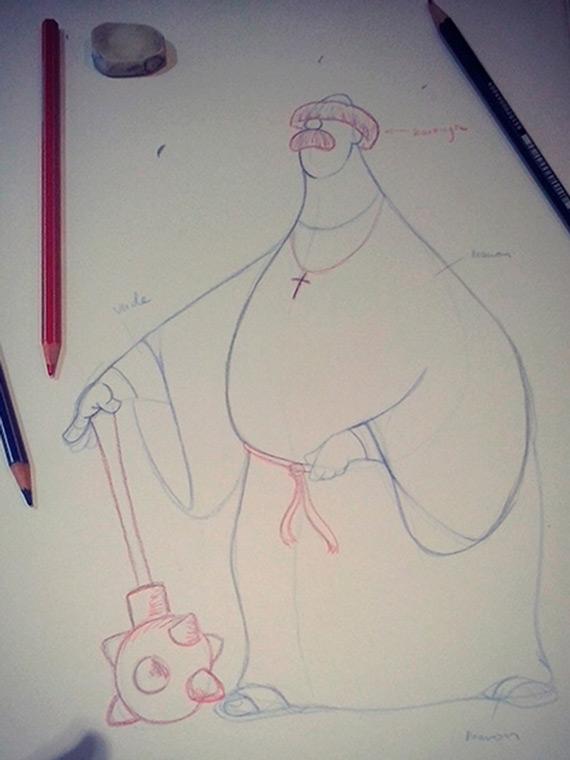 Boceto personaje medieval monje