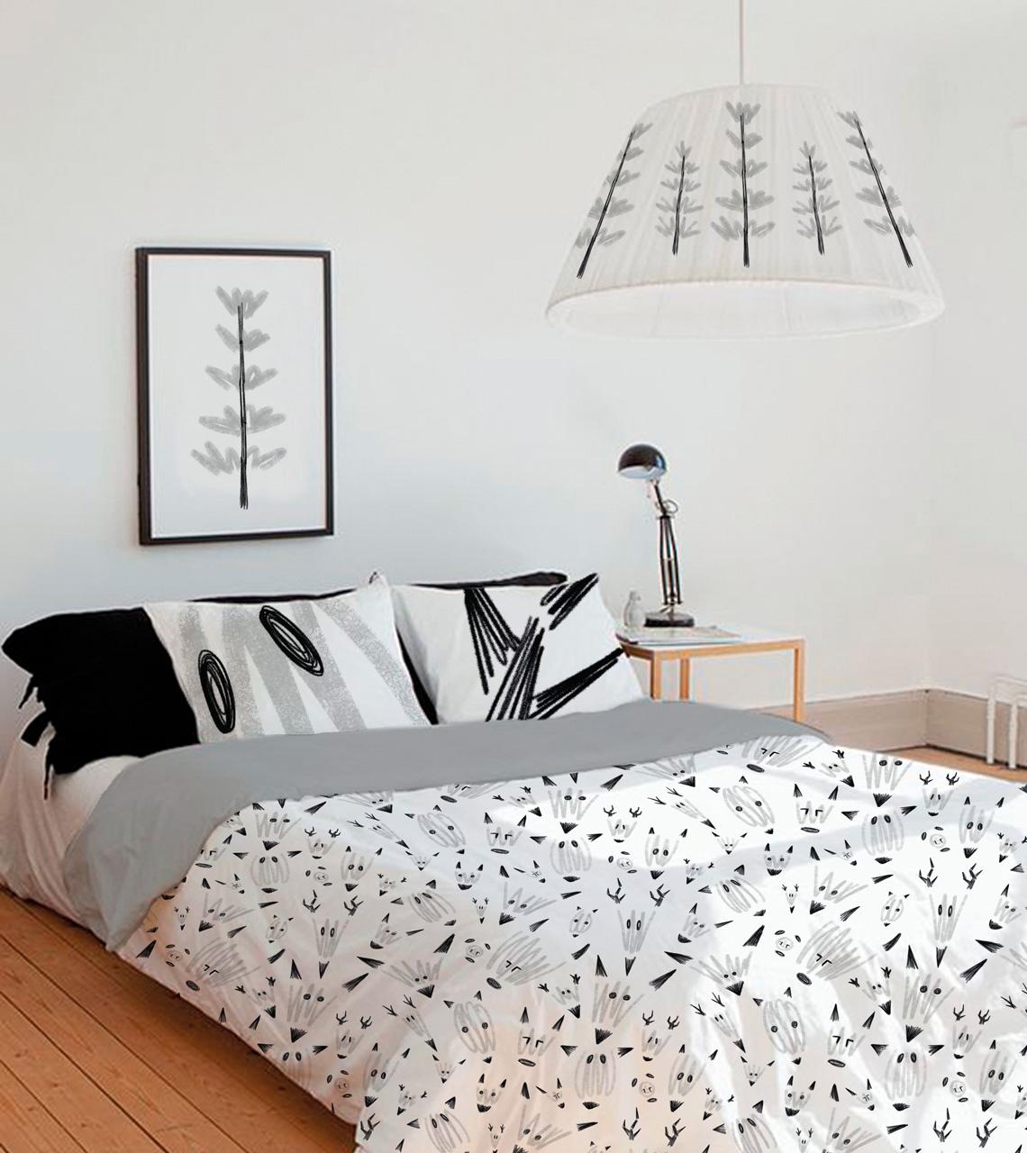 Colcha-ilustración-textil-zorros-gris