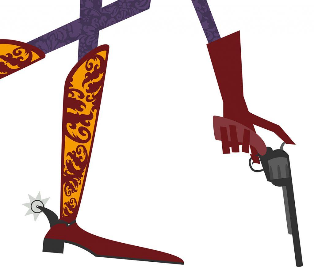 Pistola y botas ilustración vectorial