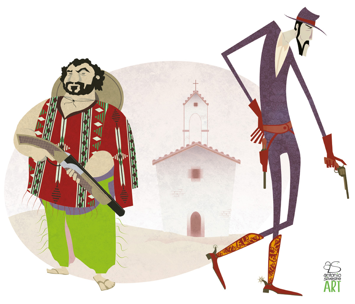 Vaqueros delante de iglesia ilustración