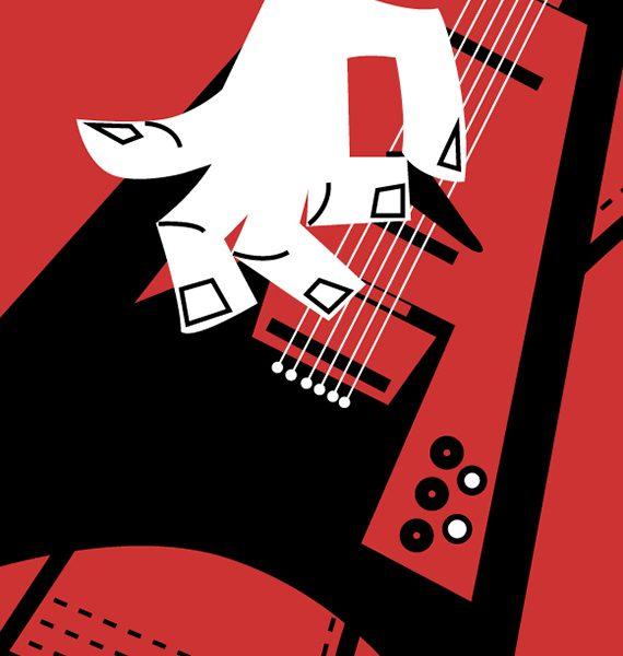 guitarrista metal mano