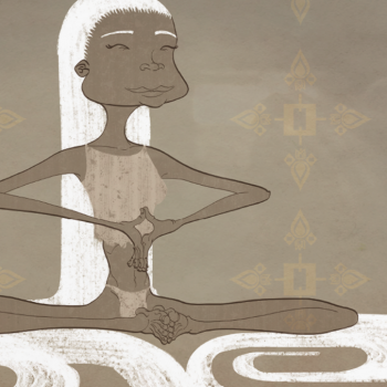 Ilustración chica melena blanca meditando