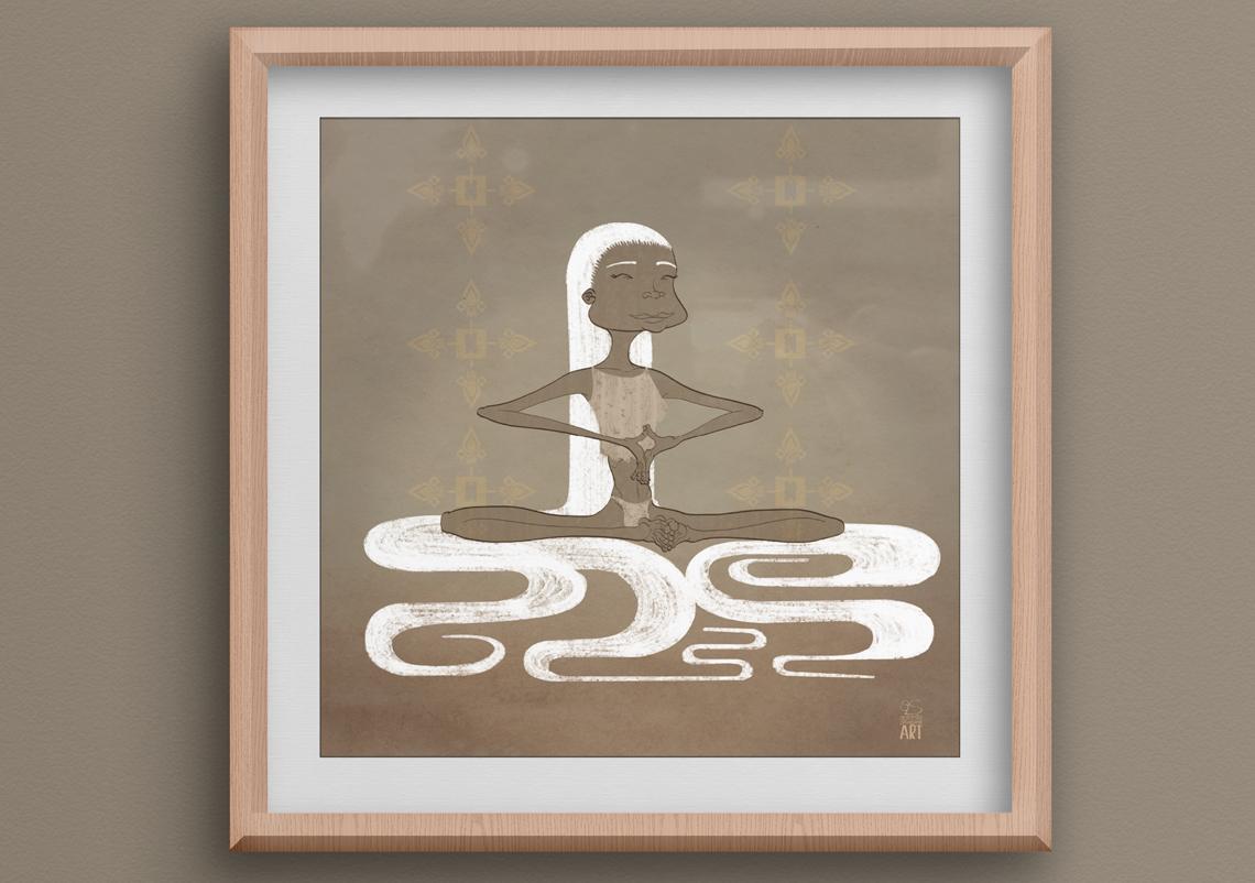 Cuadro con la ilustración de una chica india de larga melena blanca meditando