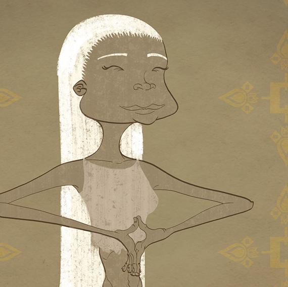 Retrato dibujo chica melena blanca meditando